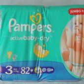 Pampers Aсtive Baby №3  82шт Новые.Памперсы.