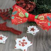 Бабочка -галстук с принтом Санта Клауса