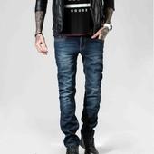 Мужские джинсы на флисе в меру зауженные размеры 28-36 ц