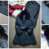 Шикарное шерстяное пальто с воротником норкой р-р Л