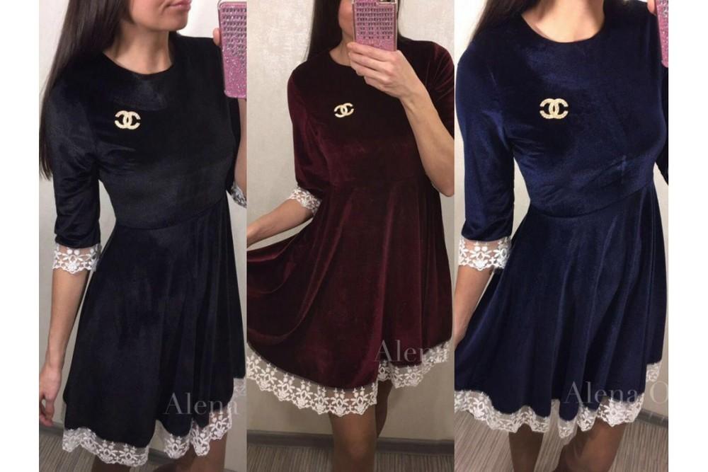 Платье из бархата с кружевом 4197452b45dba