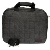 Тканевая прочная сумка под ноутбук и документы темно-серая (52005)