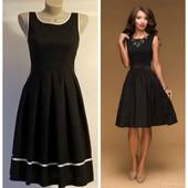 Платье-миди с пышной юбкой черное коктейльное