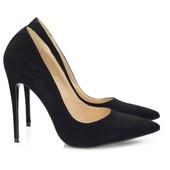 Туфли шпильки черного цвета экозамша