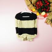 S-M GAP теплый свитер в косы двухцветный с шерстью!0009