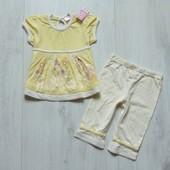 Новый комплект для новорожденной: футболка + штаники. Cherokee. Размер 0-3 месяца