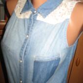 Джинсовая рубашка безрукавка Jennyfer размер XS