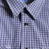 мужская рубашка длинный рукав р. L рост 182 хлопок плотная. клетка