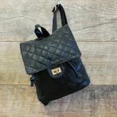Оригинальный городской стеганный черный женский рюкзак из кожзаменителя купить недорого