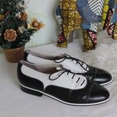 36 23,5см Bally Черно-белые кожаные туфельки на шнуровке