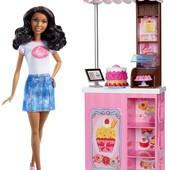 Набор кукла барби и кафе barbie careers bakery shop playset игровой набор уличное кафе оригинал