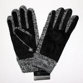 Мужские перчатки  из трикотажа+замш, подкладка: флис.