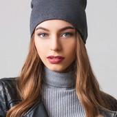 Двухслойная женская шапка, удлиненная, графит