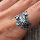 Кольцо серебряное Жабка
