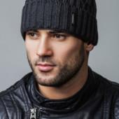 Теплая мужская шапка, фактурный узор/подкладка микрофлис