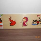 Деревянная игрушка Рамка-вкладыш с ручкой, Маша и Медведь, 4 детали