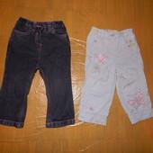 на 1,5-2 года зауженные джинсы и красивенные летние штанишки Next с вышивкой