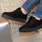 Женские кроссовки криперы на рифлёной подошве
