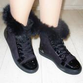 Ботинки с опушкой кролик лак Н5407