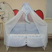 Детское постельное белье в кроватку голубое Bonna Классик