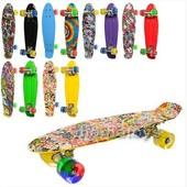 Скейт MS 0748-6пенни 56.5.-14,5 см, пластик антискол, алюминий подвеска, колеса ПУ,светятся, Принт