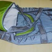 Люлька сумка для переноски малышей и утепление в коляску серая с зелёным