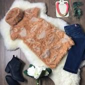 Оригинальный свитер-безрукавка из комбинированной пряжи с воротником-гольфом  CG41006