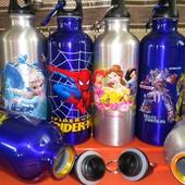 Детская Бутылка спортивная металлическая, фляга велосипедная, для спорта, с карабином