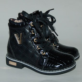 Ботинки стеганые рептилия лак 338