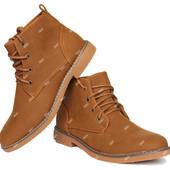 Демисезонные современные мужские ботинки коричневого цвета (К-72)