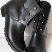 Стильные Hermes болты! ботинки женские демисезонные сапоги Гермес кожа