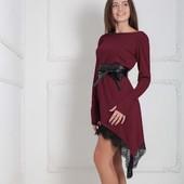 Платье с кружевом р-ры 40-50 9 цветов