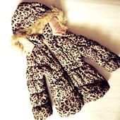 Леопардовая демисезонная куртка 2-3г  (рукав 36, длина 50)