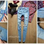 Шикарные скинни Asos,джинсы с рванками,р-р М-Л