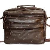 Мужская современная сумка коричневого цвета кожаная (7003-К)