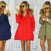 Женская зимняя асимметричная куртка пуховик с натуральным мехом