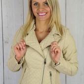 Женская демисезонная стеганная куртка косуха из эко-кожи