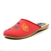 100-NC-20S-003  женские домашние тапочки Inblu  материал - коттон, цвет-красный, р 36-41