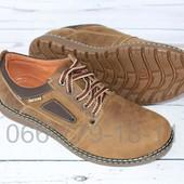 Новинка! Мужские кожаные туфли, цвет олива