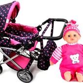 Игрушечная коляска-трансформер Doris (Польша) + кукла в комплекте!