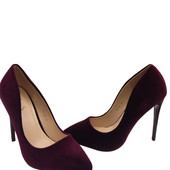 Женские туфли бордовый бархат