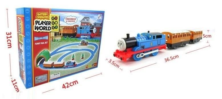 Железная дорога с паровозиком -томас 42x11x31см. фото №1