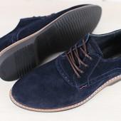 Мужские туфли, из натуральной замши, на шнурках, темно-синие