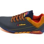 Кроссовки мужские Adidas 39 синие с рыжим (реплика)
