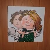 """Картина ручная работа """"Влюбленные ангелочки"""", 20×20 см, отличный подарок"""