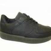 Слипоны черные на шнурках Т673