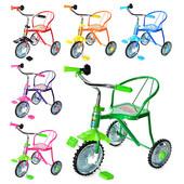 Велосипед гном LH-701-2 3 колеса,хром,6 цветов красн,желт,зел,темн-син,голуб,роз,клаксон,51-52-40см