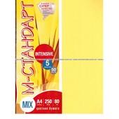 "Бумага цветная ""М-Стандарт"" A4 mix неон (5 цв.*20л) 100л 80г 163180"
