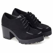 Полуботинки черного цвета на каблуке и платформе