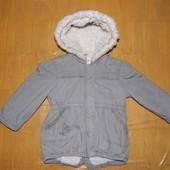 р. 86-92, хорошенькая куртка парка, Matalan на искусственном меху деми теплая зима